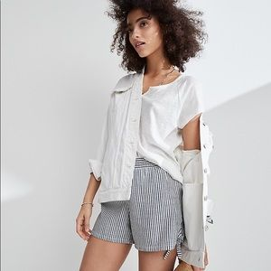 Madewell Pull On Side Tie Chambray Stripe Shorts